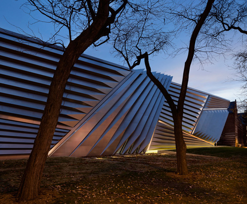 The Eli and Edythe Broad Art Museum at Michigan State University, designed by Zaha Hadid. Exterior view (4). Photograph: Paul Warchol.