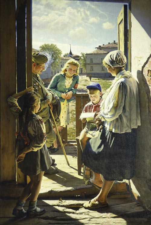 Alexander Laktionov. <em>Letter from the Front</em>, 1947. Oil on canvas, 88 9/16 x 60 13/16 inches. The State Tretyakov Gallery, Moscow. Photo: © The State Tretyakov Gallery, Moscow.