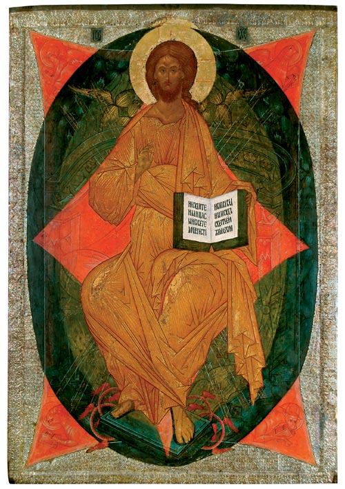 <em>Christ in Glory, </em>from the Deesis Tier in the Cathedral of the Dormition at the Kirillo-Belozersk Monastery, ca. 1497. Tempera on panel, 75 9/16 x 52 3/4 inches. Museum of History, Architecture, and Art, Kirillo-Belozersk. Photo: © Museum of History, Architecture, and Art, Kirillo-Belozersk.