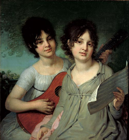 Vladimir Borovikovsky. <em>Portrait of the Sisters Princesses Anna and Varvara Gagarina</em>, 1802. Oil on canvas, 29 ½ x 27 ¼ inches. The State Tretyakov Gallery, Moscow. Photo: © The State Tretyakov Gallery, Moscow.
