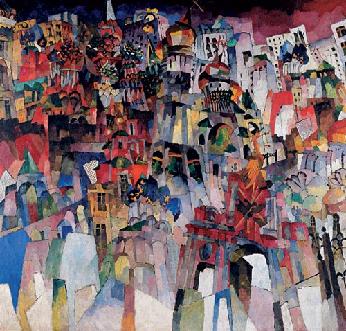 Aristarkh Lentulov. <em>Moscow</em>, 1913. Oil on canvas, 70 1/2 x 74 7/16 inches. The State Tretyakov Gallery, Moscow. Photo: © The State Tretyakov Gallery, Moscow.
