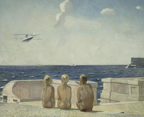 Alexander Deineka. <em>Future Pilots</em>, 1938. Oil on canvas, 51 9/16 x 63 3/8 inches. The State Tretyakov Gallery, Moscow. © Estate of Alexander Deineka/RAO, Moscow/VAGA, New York. Photo: © The State Tretyakov Gallery, Moscow.