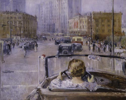 Yuri Pimenov. <em>New Moscow</em>, 1937. Oil on canvas, 54 15/16 x 67 5/16 inches. The State Tretyakov Gallery, Moscow. © Estate of Yuri Pimenov/RAO, Moscow/VAGA, New York. Photo: © The State Tretyakov Gallery, Moscow.