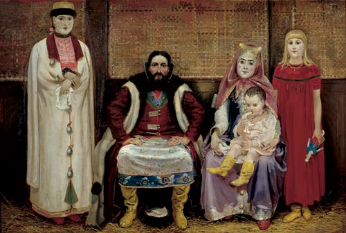Andrei Ryabushkin. <em>A Merchant Family in the Seventeenth Century</em>, 1896. Oil on canvas, 56 5/16 x 83 7/8 inches. State Russian Museum, St. Petersburg. Photo: © State Russian Museum, St. Petersburg.