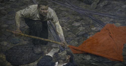 Gelii Korzhev. <em>Raising the Banner</em>, 1957–60. Oil on canvas. 61 7/16 x 114 3/16 inches. State Russian Museum, St. Petersburg. Photo: © State Russian Museum, St. Petersburg.