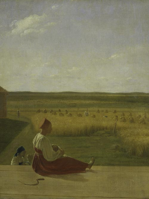 Alexei Venetsianov. <em>On the Harvest: Summer</em>, mid-1820s. Oil on canvas, 23 5/8 x 19 inches. The State Tretyakov Gallery, Moscow. Photo: © The State Tretyakov Gallery, Moscow.