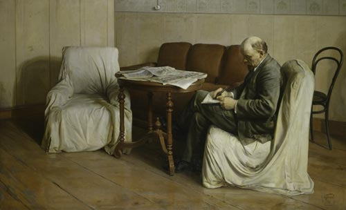 Isaak Brodsky. <em>V. I. Lenin in the Smolny</em>, 1930. Oil on canvas, 77 15/16 x 126 inches. State Historical Museum. Photo: © State Historical Museum, Moscow.