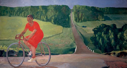 Alexander Deineka. <em>Collective Farm Worker on a Bicycle</em>, 1935. Oil on canvas, 47 1/4 x 86 5/8 inches. State Russian Museum, St. Petersburg. © Estate of Alexander Deineka/RAO, Moscow/VAGA, New York. Photo: © State Russian Museum, St. Petersburg.