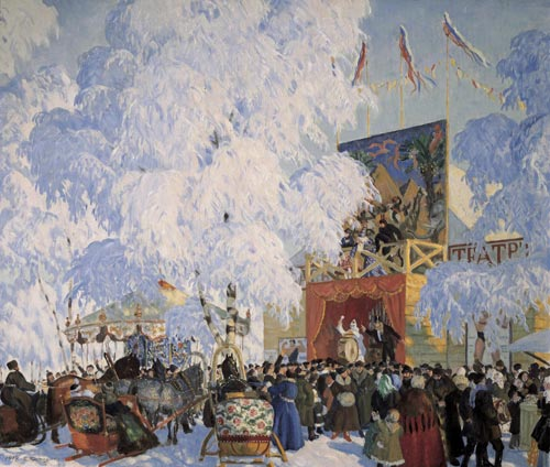 Boris Kustodiev. <em>Fair Booths</em>, 1917. Oil on canvas 80 x 93 cm. Image courtesy of the State Russian Museum, St Petersburg.