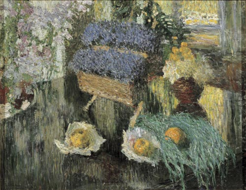 Igor Grabar. <em>Flowers and Fruit on a Piano</em>, 1904. Oil on canvas 79 x 101 cm. Image courtesy of the State Russian Museum, St Petersburg.
