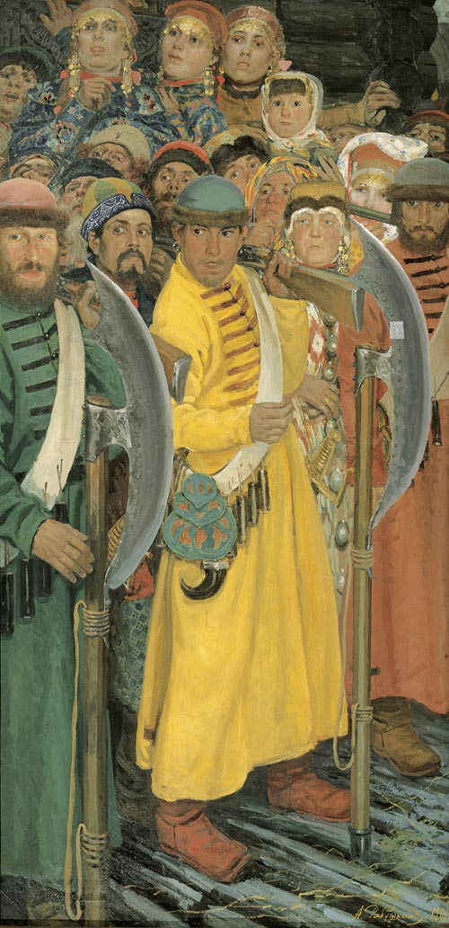 Andrei Ryabushkin. <em>They Are Coming (Muscovites Awaiting Entry of a Foreign Consul to Moscow in the late 17th Century)</em>, 1901. Oil on canvas 204 x 102 cm. Image courtesy of the State Russian Museum, St Petersburg