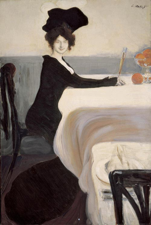 Leon Bakst. <em>Supper</em>, 1902. Oil on canvas, 150 x 100 cm. Received in 1920 from the Alexander Korovin collection, Petrograd. Image courtesy of the State Russian Museum, St Petersburg.
