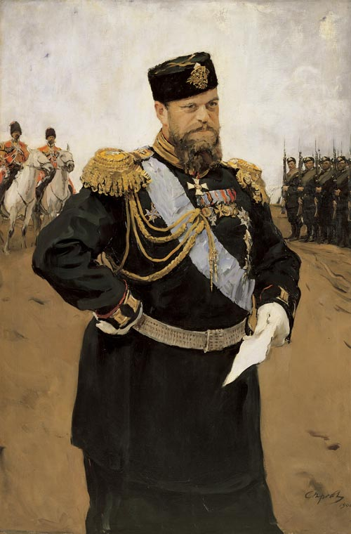 Valentin Serov. <em>Portrait of Tsar Alexander III Holding a Report</em>, 1900. Oil on canvas 160 x 107 cm. Image courtesy of the State Russian Museum, St Petersburg.