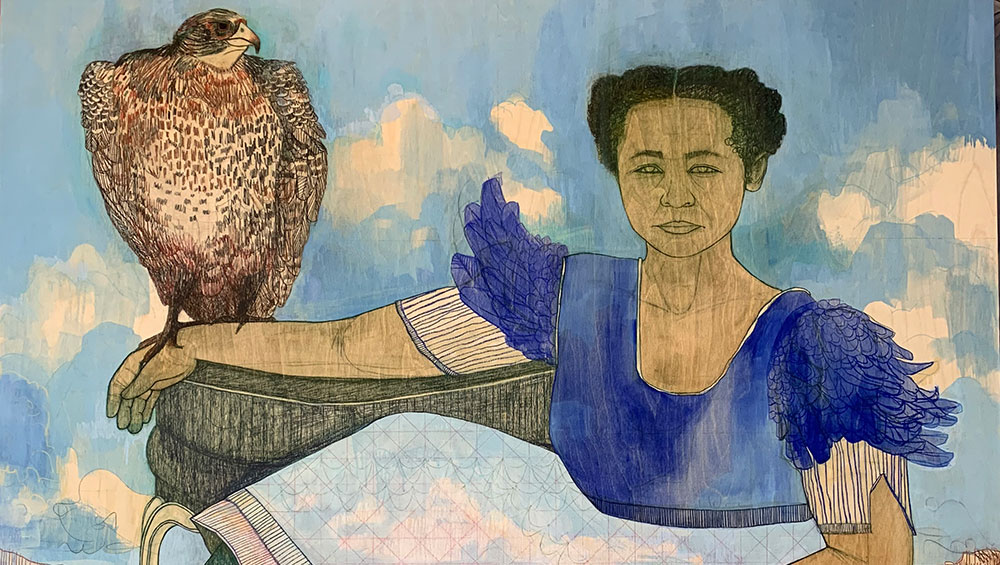 Through multilayered works that merge vibrant female figures with fantastical landscapes, the South African artist, who currently has a solo show at Goodman Gallery, London, is forging more complex and nuanced portrayals of black women