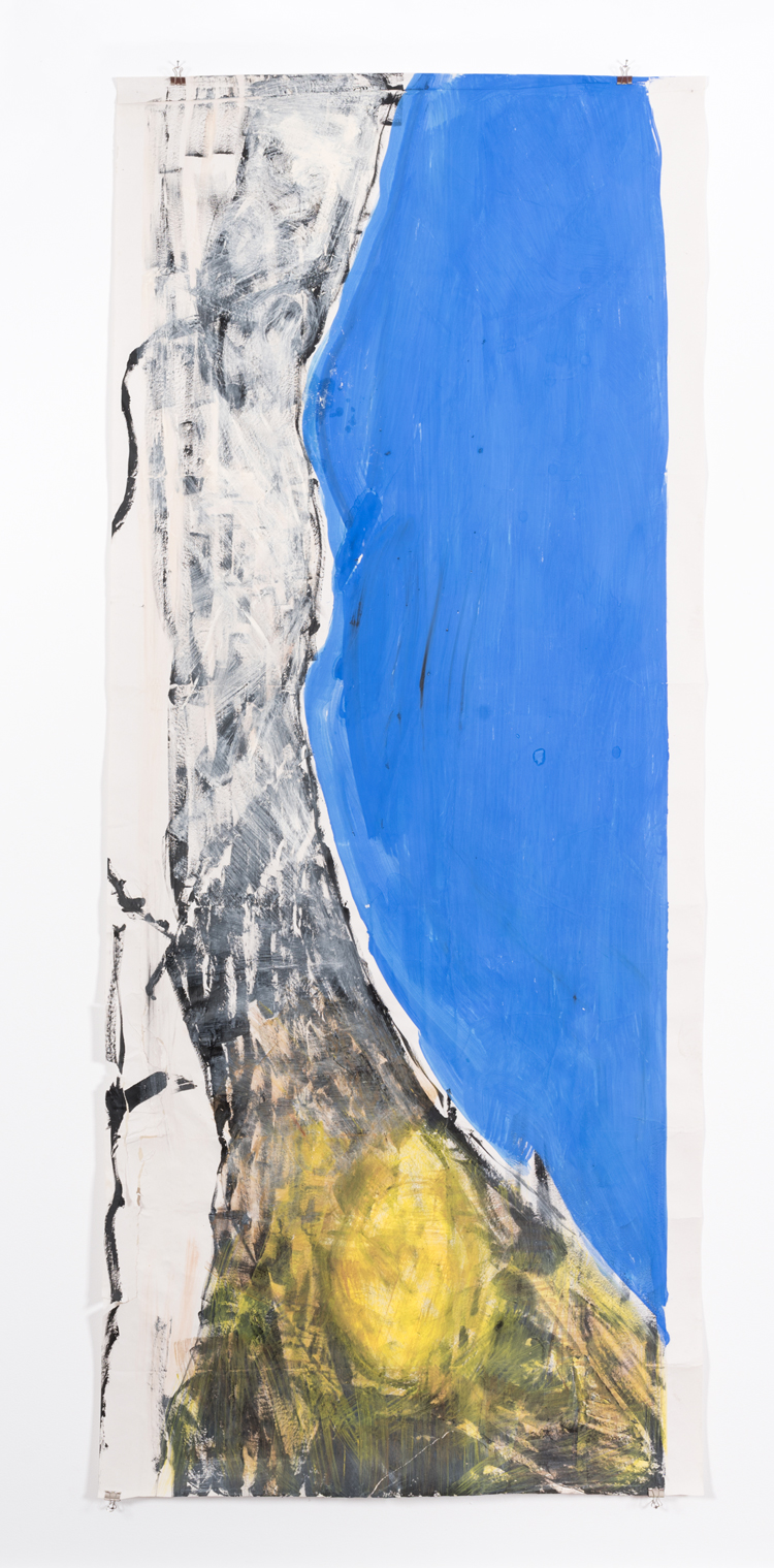 Vivian Suter, Nisyros (Vivian's bed) 2016–17. Oil, pigment, and fish glue on canvas and paper, and volcanics, earth, botanical matter, microorganisms, and wood, 100 x 237 cm. © Courtesy of the artist and Karma International, Zurich and Los Angeles; Gladstone Gallery, New York and Brussels; House of Gaga, Mexico City; and Proyectos Ultravioleta, Guatemala City.