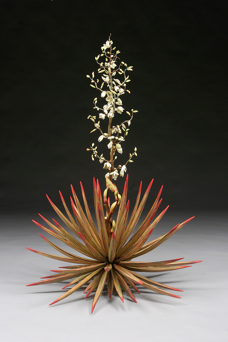 Michael Sherrill, Temple of the Cool Beauty (Yucca), 2005. Porcelain, Moretti glass, silica bronze. 54 x 38 in. Gift of Ann and Tom Cousins. 2014.78a-b. Collection of The Mint Museum.