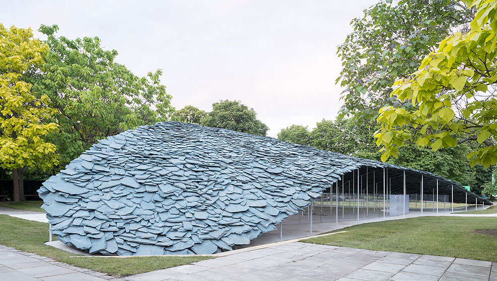 Perhaps this is an idea that looked good on paper, but with its dark slate roof and unstable-looking structure, Junya Ishigami's pavilion is oppressive and unwelcoming