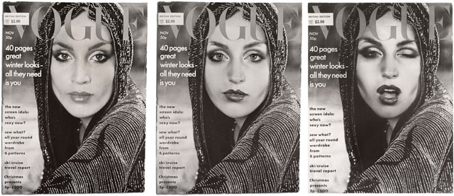 Cindy Sherman. Cover Girl (Vogue), 1975/2011. Three gelatin silver prints, each 26.7 × 20.3 cm. Private Collection, Paris.