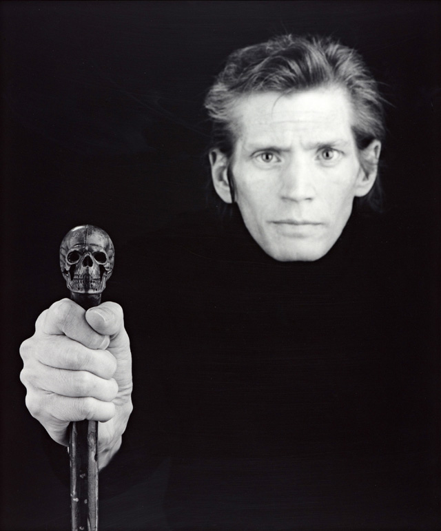 Robert Mapplethorpe. Self Portrait, 1988. Photograph, gelatine silver print on paper, 57.7 x 48.1 cm. ARTIST ROOMS National Galleries of Scotland and Tate. Acquired jointly through The d'Offay Donation with assistance from the National Heritage Memorial Fund and the Art Fund 2008 © Robert Mapplethorpe Foundation.