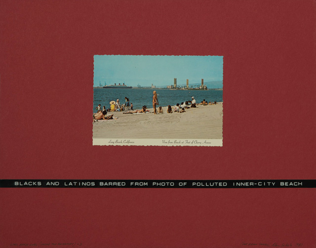 Allan Sekula, Long Beach Notes, 1980. Four parts, commercial postcards on cardboard, dymo type. Courtesy the artist and Marian Goodman Gallery New York, Paris and London.