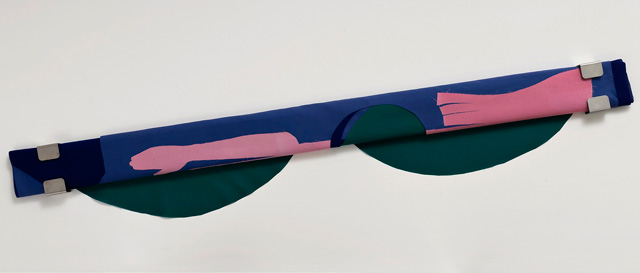 Gerda Scheepers. Issue (green pink blue), 2019. Fabric, steel brackets, 5 x 180 x 16 cm (2 x 70 4/5 x 6 1/5 in). Image courtesy the artist; Mary Mary, Glasgow. Photo: Malcolm Cochrane.