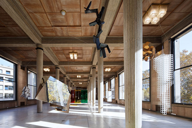 Suspension: A History of Abstract Hanging Sculpture, 1918-2018, installation view, Palais d'Iéna. Courtesy of Olivier Malingue Ltd. Photo: Benoît Fougeirol.