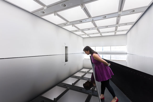 Richard Wilson, 20:50, 1987. Installation view at Space Shifters. © copyright the artist, courtesy Hayward Gallery 2018. Photo: Mark Blower.