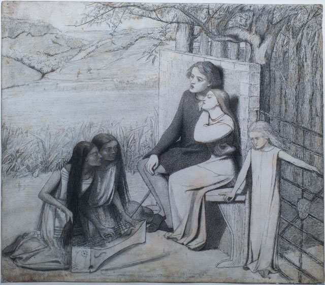 Lizzie Siddal. Lovers Listening to Music, c1854. Pencil, pen and ink.