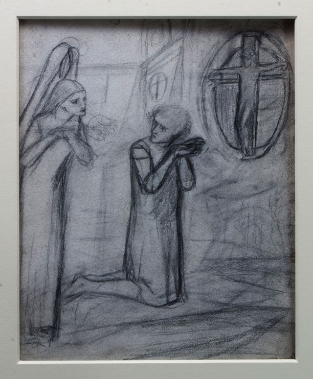Lizzie Siddal. Sir Galahad, c1850s. Pencil.