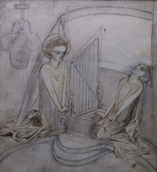Lizzie Siddal. St Cecilia, c1850s. Pencil, pen and brown ink.