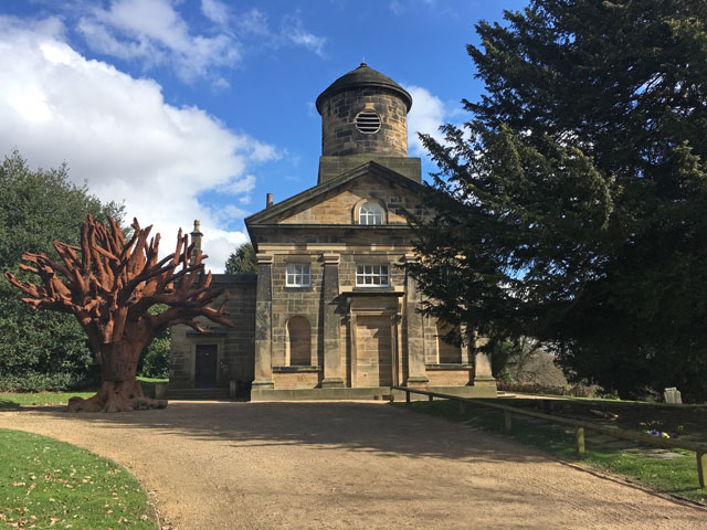 Exterior of chapel at Yorkshire Sculpture Park, with tree by Ai Weiwei. Photograph: Veronica Simpson.
