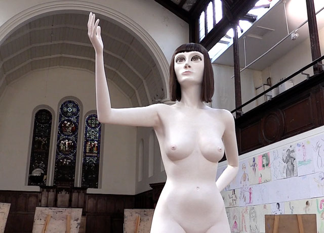 David Shrigley, Life Model II, installation view at Fabrica, Brighton, 2018. Photograph: Martin Kennedy.