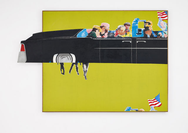 Gerald Laing. Lincoln Convertible, 1964. Oil on shaped canvas, 73 x 111 in (185.4 x 282 cm). The Estate of Gerald Laing. © The Estate of Gerald Laing.