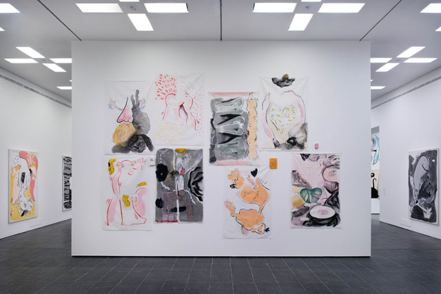 Sofia Stevi. Collaged works and objects, installation view. Top row first, from left to right: a burning sensation (2015); proud male figure (2016); history is not kind (2016); don't go (before I go first) (2016); my non-purity as a white flag (2016); Athens weather report (2016); hormonal (2016); floating tits (2016).