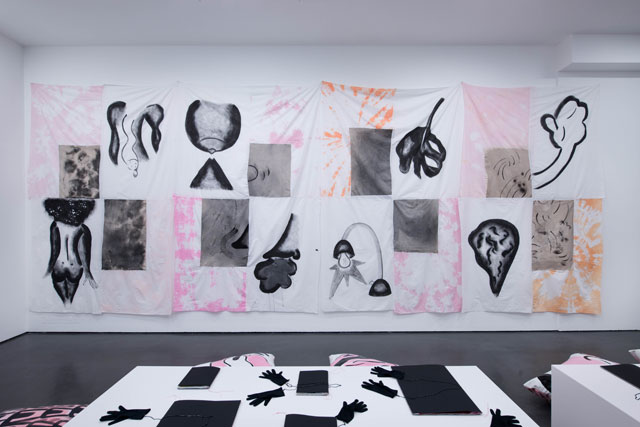 Sofia Stevi. graphic motifs on collaged paintings, installation view, turning forty winks into a decade, Baltic Centre for Contemporary Art, 2017.
