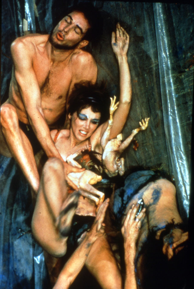 Carolee Schneemann. Meat Joy, 1964. Chromogenic colour print of the performance in New York, 5 x 4 in (12.7 x 10.2 cm). © 2017 Carolee Schneemann. Courtesy the artist, P.P.O.W, and Galerie Lelong, New York. Photograph: Al Giese.