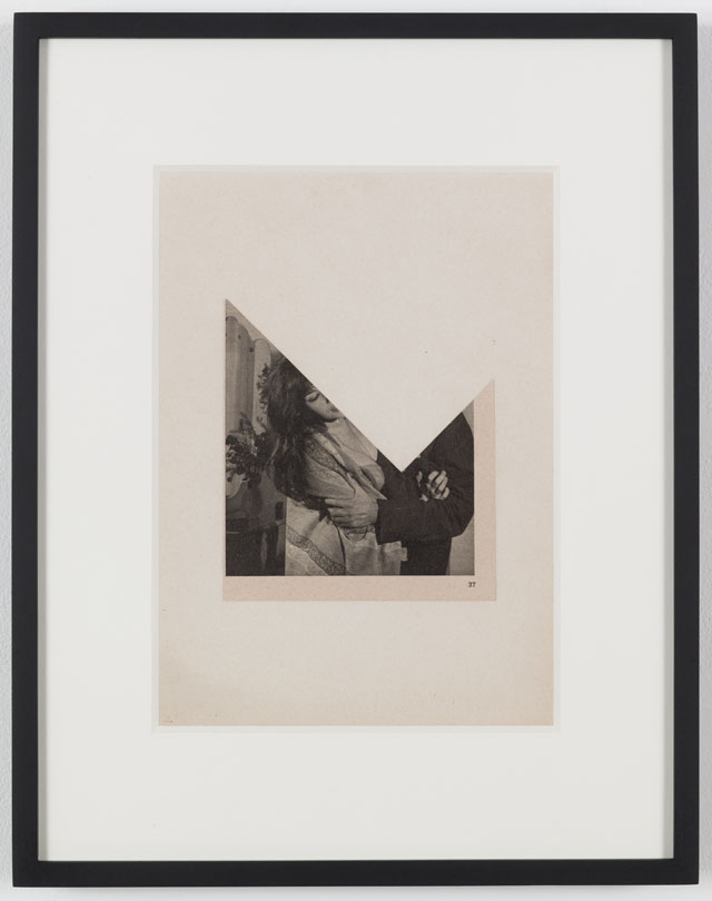 John Stezaker. Kiss I (Photoroman), 1976. Collage, 5.71 x 5.16 in (14.5 x 13.1 cm). Courtesy of the artist and Petzel, New York.
