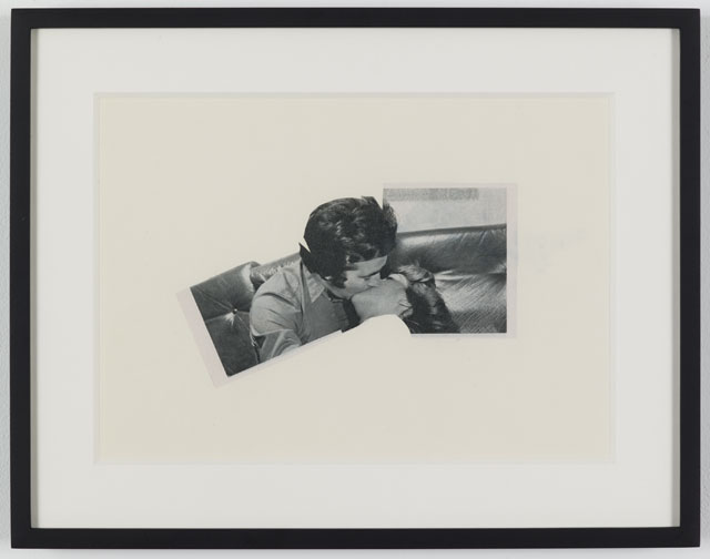 John Stezaker. Kiss II (Photoroman), 1978. Collage, 4.96 x 8.5 in (12.6 x 21.6 cm). Courtesy of the artist and Petzel, New York.