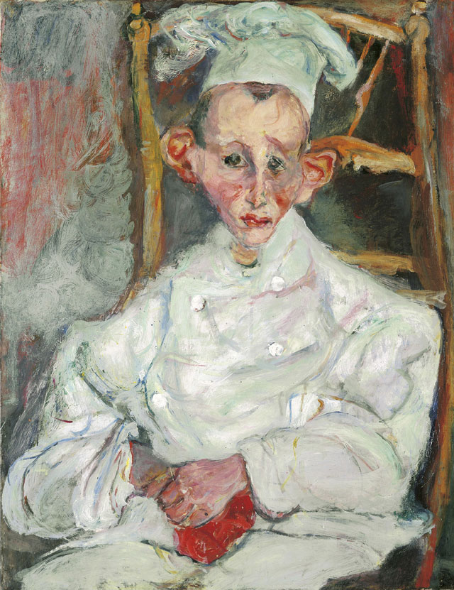 Chaïm Soutine. Pastry Cook of Cagnes (Le patissier de Cagnes _ Der Konditor von Cagnes), 1922. 64.8 x 50 cm. Private collection.