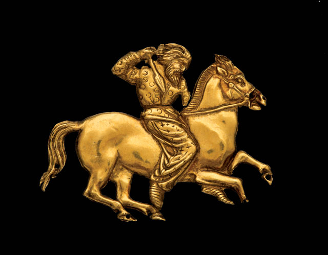 Scythian rider. A gold plaque depicting a Scythian rider with a spear in his right hand. Gold. Second half of the fourth century BC; Kul' Oba. © The State Hermitage Museum, St