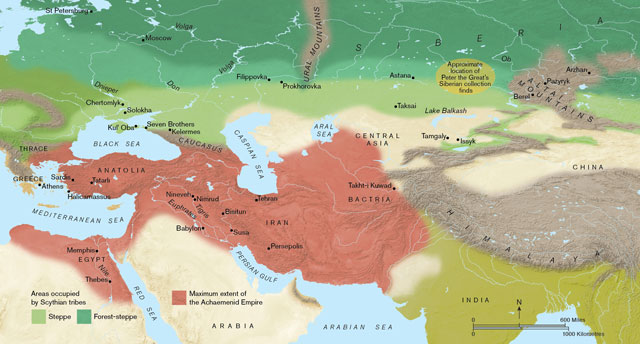 Scythians cultural map. A map of Eurasia showing the extent of the Achaemenid empire (in red) and the Eurasian steppe and mixed woodland largely occupied by the Scythians (in Green). Map produced by Paul Goodhead.