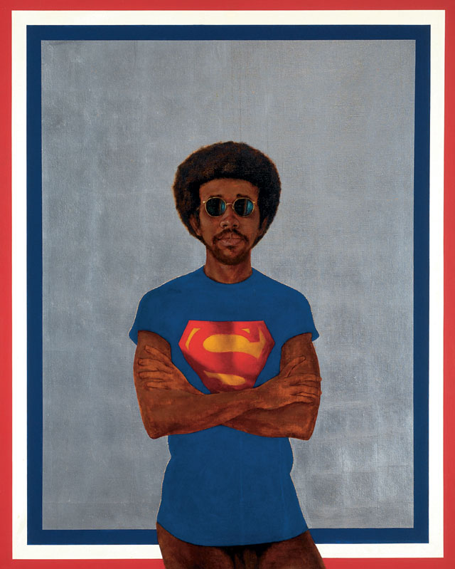 Barkley L. Hendricks. Icon for My Man Superman (Superman Never Saved any Black People--Bobby Seale), 1969. Oil, acrylic and aluminium leaf on linen canvas, 151.1 x 121. 9 cm. Collection of Liz and Eric Lefkofsky. © Barkley  L. Hendricks. Courtesy of the artist and Jack Shainman Gallery, New York.