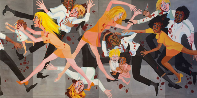 Faith Ringgold. American People Series #20: Die, 1967. Oil on canvas, 182.8 x 365.7 cm. The Museum of Modern Art, New York. Purchase; and gift of the Modern Women's Fund. © Faith Ringgold.