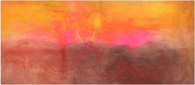 Frank Bowling. Texas Louise, 1971. Acrylic on canvas, 282 x 665 cm. Courtesy of the Rennie Collection, Vancouver. © Frank Bowling.