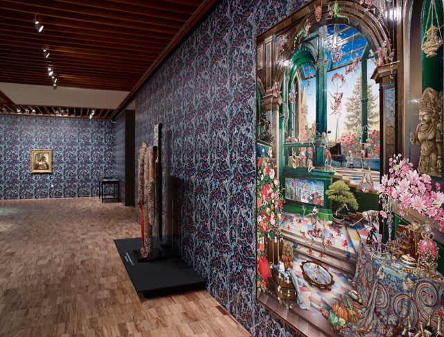 Raqib Shaw, installation view, the Whitworth Manchester, 2017. Foreground: Self-portrait in the Studio at Peckham (After Steenwyck the Younger) II, 2014-15.