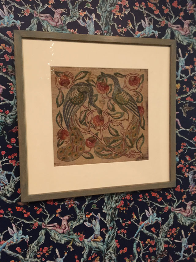 Walter Crane (1845-1915).  Peacock Panel, c1885. Hand embroidery on Damask. From The Whitworth collection. Photograph: Veronica Simpson.