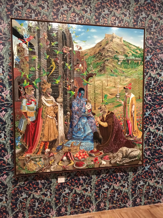 Raqib Shaw. The Adoration (After Jan Goassaert) 2015-16. Courtesy Raqib Shaw and White Cube. Photograph: Veronica Simpson.