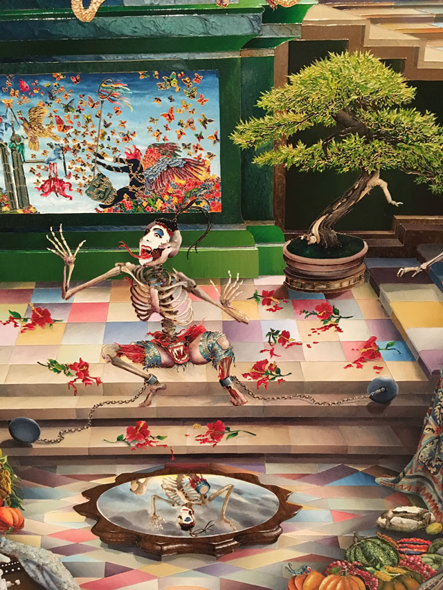Raqib Shaw. Detail of Self-portrait in the Studio at Peckham (this is how Shaw depicts himself, part clown, part skeleton), 2014-15. Photograph: Veronica Simpson.