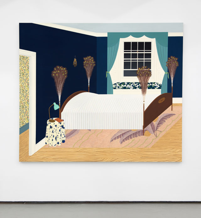 Becky Suss. Bedroom with Peacock Feathers, 2017. Oil on canvas, 72 x 84 in. Courtesy Jack Shainman Gallery.