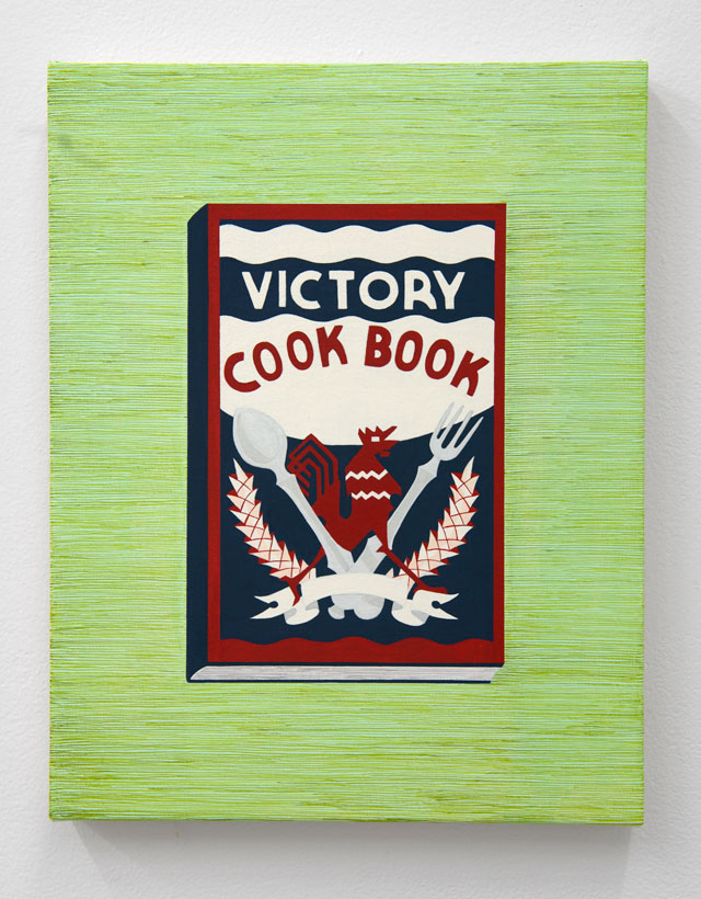 Becky Suss. Victory Cookbook, 2017. Oil on canvas, 14 x 11 in. Courtesy Jack Shainman Gallery.